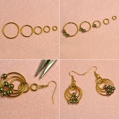 Gold Hoop Earrings with Aluminum Wires and Beads