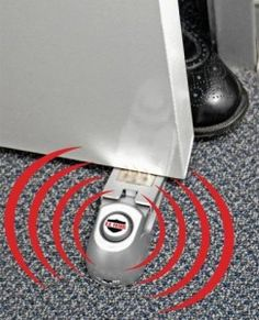 This is the Super Door Stop #Alarm. Great for single women. It as an entry alarm and to block a door from being opened. If anyone tries to open the door, this 115dB alarm will sound. Alarm stops when pressure is released from door stop plate. $15.00 http://www.absolutesecuritystore.com/home-defense-protection/super-door-stop-alarm.html Repin