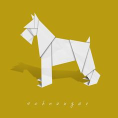 Honor your beloved Schnauzer with an original, clean, modern art print depicting the pup in origami form against a solid background color of