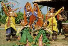 DANCES - Dancers holding malongs in various ways  FROM THE SOUTH OR MOROLAND