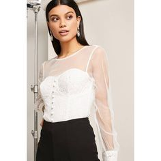 Forever21 Mesh Lace Illusion Top ($28) ❤ liked on Polyvore featuring tops, ivory, lacy tops, pink top, long sleeve tops, lace sleeve top and lace bustier top