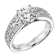 "ArtCarved ""DOMINIQUE"" Platinum Diamond Engagement Ring Mounting - Engagement Rings - Art Carved - Diamonds & Engagement Rings"