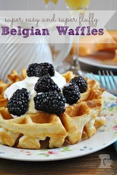 Easy and Fluffy Belgian Waffles from www.somethingswanky.com   I love that these waffles are SUPER fluffy, and without having to beat any egg whites! A secret ingredient makes them crispy on the outside and soft on the inside... #waffles #recipe