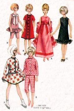 Vintage 115 in Barbie Doll Clothes Pattern 3761