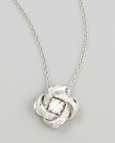 Finejewelers Sterling Silver Polished and Brushed Crystal Pendant Necklace