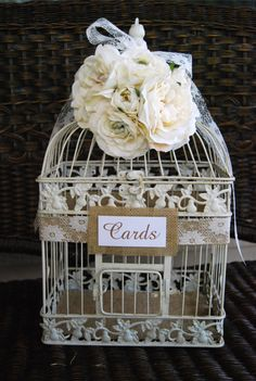 Large Wedding Bird Cage Card Holder  Burlap by MackensleyDesigns, $75.00