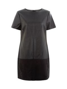 Robe noire en imitation cuir et suédine. | New Look