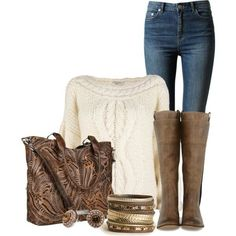 Tall boots and cream knitted sweater