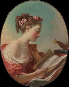 oung Woman Reading  Jean Honoré Fragonard  (French, Grasse 1732–1806 Paris)    Date:      later 1770s  Medium:      Oil on canvas  Dimensions:      Oval, 27 1/8 x 21 5/8 in. (68.9 x 54.9 cm)  Classification:      Paintings  Credit Line:      Gift of René Fribourg, 1953  Accession Number:      53.161    This artwork is not on display