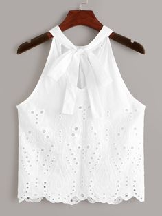 To find out about the Eyelet Embroidered Knot Top at SHEIN, part of our latest Tank Tops & Camis ready to shop online today! Casual Outfits, Cute Outfits, Cute Rompers, Top Knot, Cute Tops, Dress Patterns, Blouse Designs, Baby Dress, Ideias Fashion