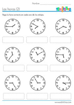 aprender las horas ficha Spanish Teaching Resources, Spanish Activities, Spanish Lessons, Teaching English, Math Activities, Learn Spanish, Math For Kids, Lessons For Kids, Telling Time In Spanish
