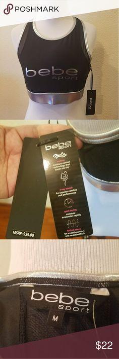 NWT Bebe Sports Bra Black/Silver Size Medium NWT Brand New Bebe Sport Metallic Mesh Logo Padded Sports Bra Black Silver Size Medium bebe Intimates & Sleepwear Bras