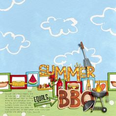 Summer BBQ digital scrabpbooking page | scrapbook layout ideas | Kate Hadfield Designs creative team layout by Rachel