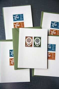 Vintage Postage Stamp Card Set by WhitneyRae on Etsy