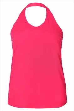 Hot Pink Halter Neck Jersey Top With Inner Bust Support Panel