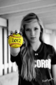 Cool Softball Senior picture! The softball can be changes into pretty much anything for another sport.