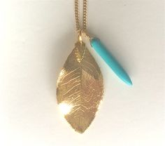 hand made gold leaf and turquoise necklace by twigs and bones
