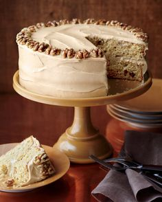 Using walnut halves creates a decorative trim on the top of this cake. Refrigerate for up to one day before use to minimize Thanksgiving Day prep time.