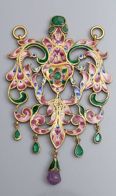 Iran | Qajar openwork pendant; gold, enamel, emeralds and amethyst | 19th century | 6'000€ ~ sold (May '13)