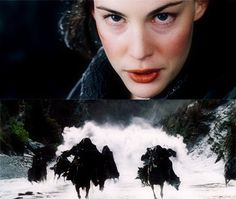 """If you want him, come and claim him!"" I love this scene, even though it was supposed to be for the Elf Glorfindel and the water horses were created by Gandalf. But I love Arwen, so I love this. Same as the fact that she gave the Elfstone to Aragorn instead of Galdriel. I'm okay with that because Aragorn and Galadriel still had a scene about it."
