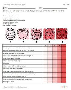 free anger/anxiety/stress triggers worksheets