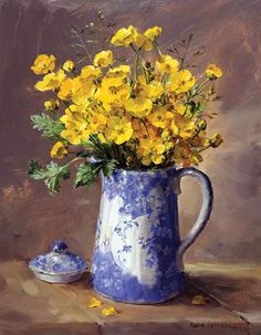 Buttercups in a Blue Pot - Limited Edition Print | Mill House Fine Art – Publishers of Anne Cotterill Flower Art