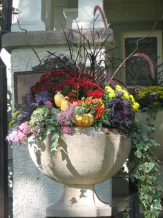 Lovely plants and flowers in a beautiful container.