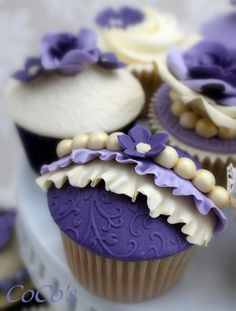 Beautiful Cake Pictures: Purple Cupcake with Ruffles & Pearls