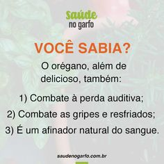 Combate à perda auditiva; Combate as gripes e resfriados; Afina o sangue Stress Less, Healthy Lifestyle Tips, Good Habits, Vegan Life, Wellness Tips, Herbal Medicine, Best Self, Eating Well, Happy Life