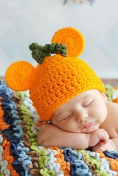 Pumpkin Orange Halloween MICKEY MOUSE CROCHET Beanie by divapuppy, $11.50 | best stuff