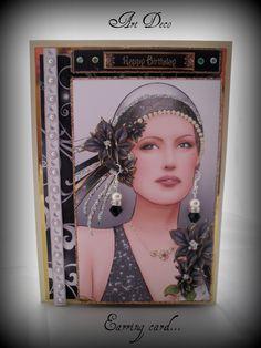 Art Deco earring card made with the Glitter & glitz Art Deco jewellery making CD Rom