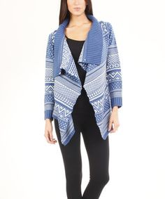 Love this Dream Positive Blue Hearts Shawl Collar Open Cardigan by  on #zulily! #zulilyfinds