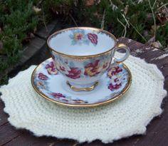 Vintage Napco China Gold Trim Floral Teacup & by Raidersoflostloot, $8.50