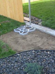 DIY concrete cobblestone pathway