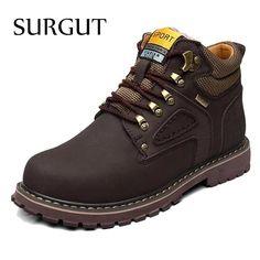 d2f04b614c6 SURGUT Brand Super Warm Men s Winter Leather Men Waterproof Rubber Snow  Boots Leisure Boots England Retro Shoes For Men Big Size