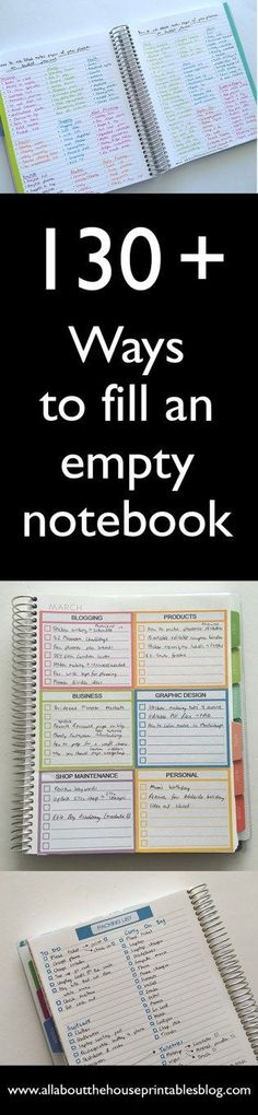 Ideas to fill an empty notebook