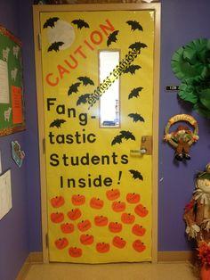 Halloween theme classroom door.