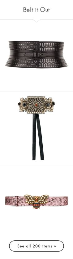 """Belt it Out"" by brassbracelets ❤ liked on Polyvore featuring accessories, belts, black, accessories belts, studded belts, leather buckle belt, leather grommet belt, eyelet belt, calfskin leather belt and beaded waist belt"
