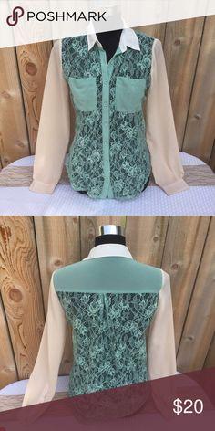 Selling this LUSH Sea Foam Green & Lace Button Up on Poshmark! My username is: revolvingrack. #shopmycloset #poshmark #fashion #shopping #style #forsale #Lush #Tops
