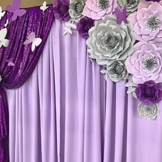 Paper flowers and butterflies on purple draperies. Purple Party Decorations, Quinceanera Decorations, Birthday Party Decorations, Flower Decorations, Wedding Decorations, 2 Birthday, Purple Birthday, Butterfly Birthday, Paper Flower Decor