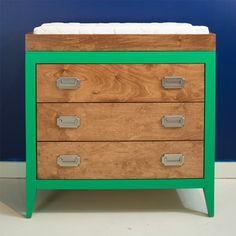 Devon Changing Table in Green - we love that this piece can be customized in any color/finish! #nursery