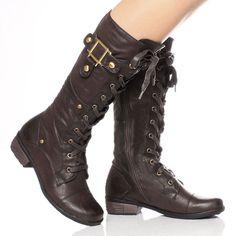 WOMENS LADIES MILITARY LACE UP ZIP LOW HEEL BUCKLE BIKER WIDE CALF BOOTS SIZE | eBay