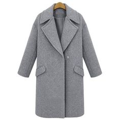 Yoins Yoins Grey Lapel Collar Duster Coat (€35) ❤ liked on Polyvore featuring outerwear, coats, coats & jackets, grey, lapel coat, grey coat, duster coat and gray coat