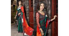 Glamourous fancy trendy multicolor printed saree www.sta.cr/2nS63