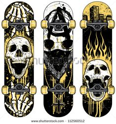 Set of vector skull themed skateboards. Skulls were hand rendered and intricately detailed. Designs were created with various paint splatters, scribbles and heavily distressed grunge textures.