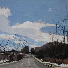 April Road, Original Spring Landscape Painting on Panel, 8 x 8 Inches, Stooshinoff
