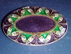 Vintage Catherine Popesco Enamel Pin,Green & Purple w/Rhinestones Made in France - http://designerjewelrygalleria.com/catherine-popesco/vintage-catherine-popesco-enamel-pingreen-purple-wrhinestones-made-in-france/