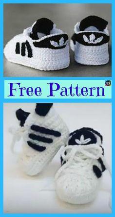 Crochet Adidas Sneakers - Free Pattern & Video Tutorial Crochet Adidas Sneakers - Pattern gratuit et tutoriel vidéo Crochet Baby Clothes, Crochet Baby Shoes, Crochet For Boys, Newborn Crochet, Crochet Converse, Booties Crochet, Crochet Slippers, Baby Slippers, Pull Crochet