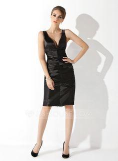 Sheath/Column V-neck Knee-Length Charmeuse Cocktail Dress With Ruffle (016021056)