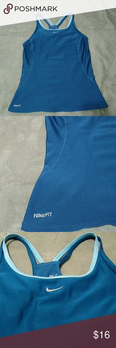 Nike Racer Back Workout Top Nike dri-fit racer back workout top with built in bra. Excellent condition. Size small.  Color:Turquoise  blue. Nike Tops